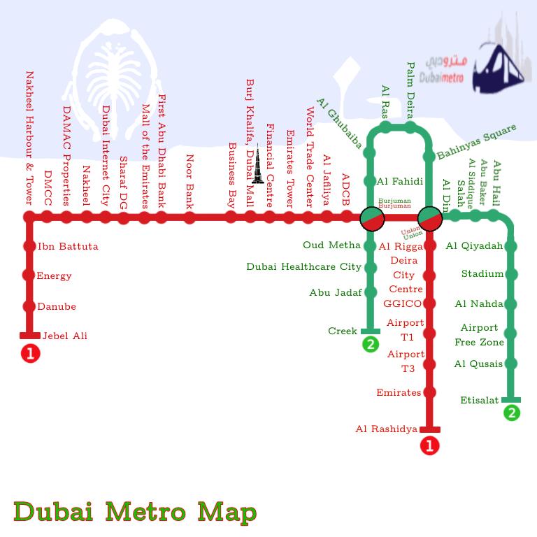 plan metro de dubai